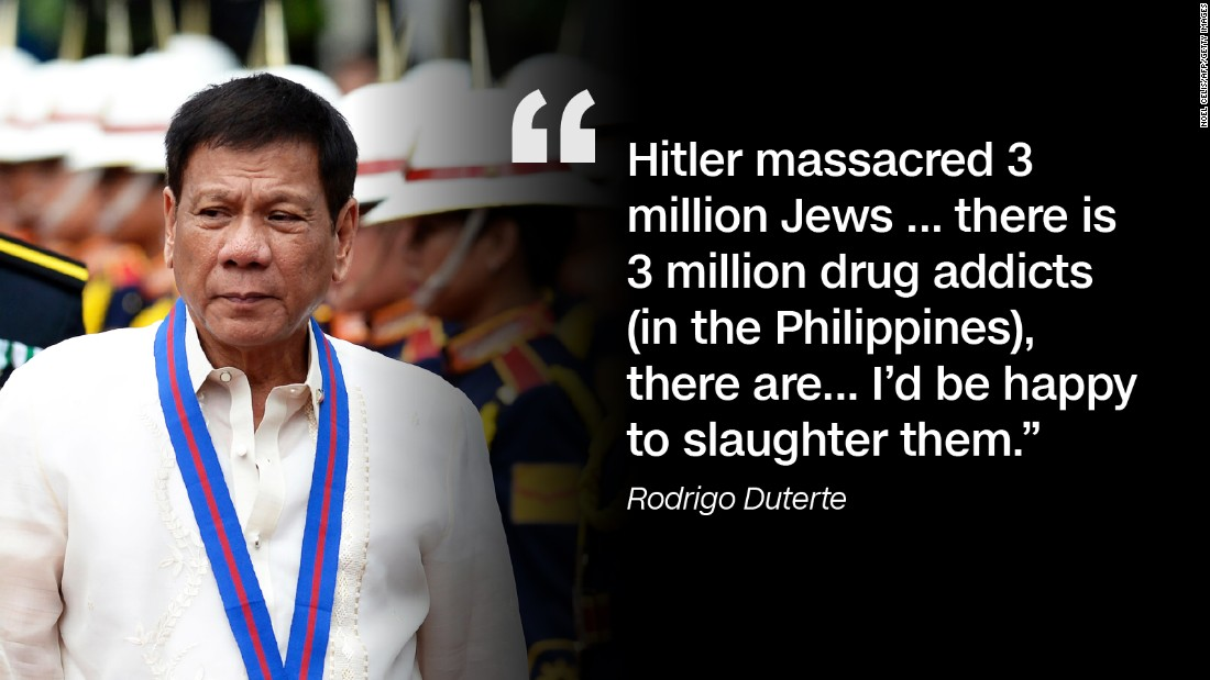 In September 2016, Duterte likened himself to the Nazi leader and announced that he wants to kill millions of drug addicts.