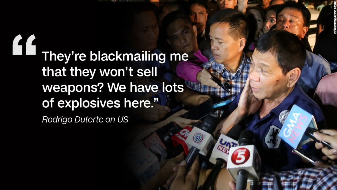 After reports emerged of a potentially blocked arms sale, Duterte told CNN Philippines in November 2016 that he would turn to Russia for weapons.