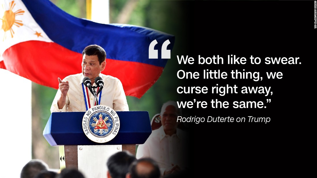 The day after Trump won the US presidential election in November 2016, Duterte said he and Trump share some traits.