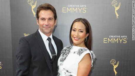 Robb Derringer and Carrie Ann Inaba attend the 2016 Creative Arts Emmy Awards at Microsoft Theater in September.