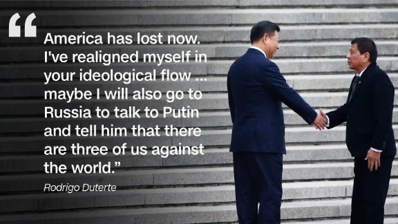 During a state visit to China in October 2016, Duterte announced his economic and military