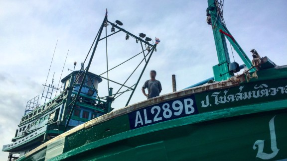 Thai purse seiner is docked at the maintenance area to go under repair in Ranong, southern Thailand.