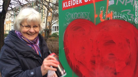 Irmela Schramm has spent the best part of the last thirty years defacing or removing racist graffiti from Berlin walls.