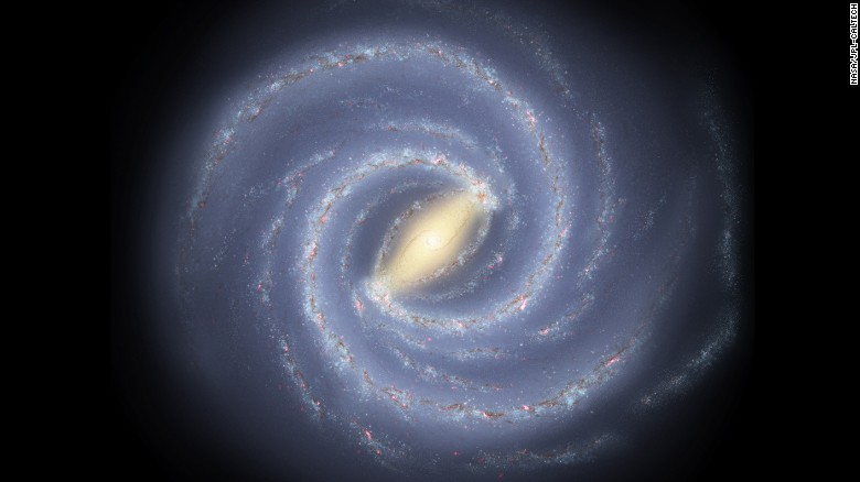 This artist's concept shows our Milky Way galaxy if we were able to see it from outside of the galaxy.