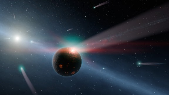 What would a storm of comets around a star look like? Hurt's illustration of Eta Corvi shows how comets are torn to shreds after colliding with a rocky body.