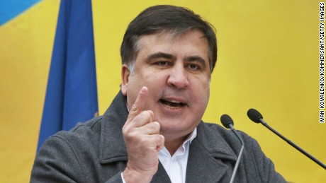 KIEV, UKRAINE - NOVEMBER 27: The former president of Georgia, former governor of Ukraine's Odessa region and the New Forces movement head Mikheil Saakashvili  addresses Kiev residents as he holds a rally demanding to impeach the Parliament and to start early elections on November 27, 2016 in Kiev, Ukraine. (Photo by Ivan Kovalenko/Kommersant via Getty Images)