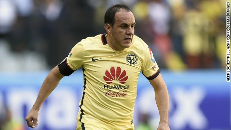 Cuauhtemoc Blanco of America controls the ball during their Mexican Clausura 2016 tournament football match against Morelia at the Azteca stadium on March 5, 2016, in Mexico City. The match is in tribute to former football player, Cuernavaca Mayor Cuauhtemoc Blanco. AFP PHOTO/ALFREDO ESTRELLA / AFP / ALFREDO ESTRELLA        (Photo credit should read ALFREDO ESTRELLA/AFP/Getty Images)