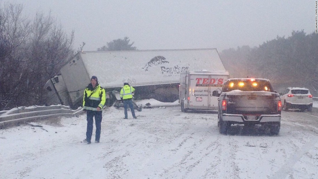Massachusetts State Police reported several accidents on I-495 on December 17.