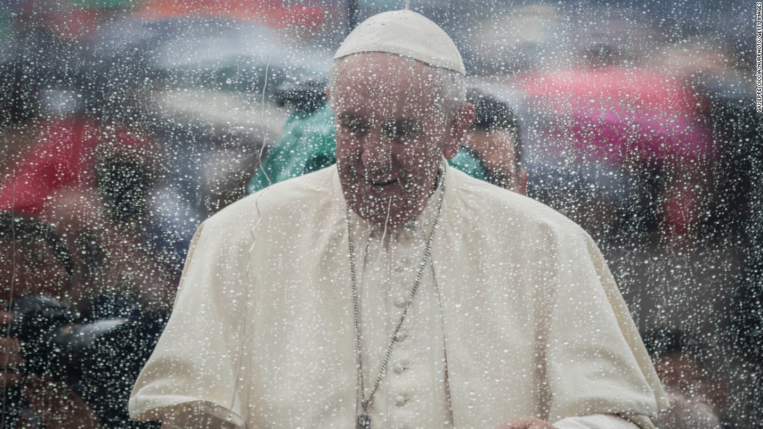 Pope Francis arrives to celebrate an extraordinary Jubilee Audience as part of ongoing celebrations of the Holy Year of Mercy in St. Peter's Square in Vatican City on May 14.