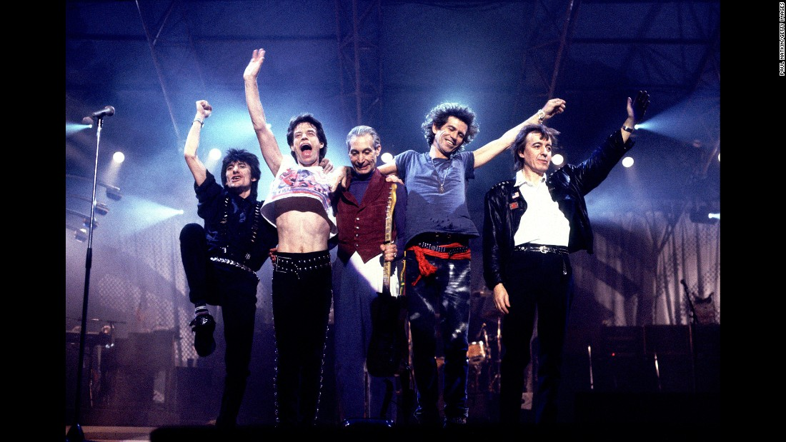 They've been called the World's Greatest Rock and Roll Band, and if you measure by longevity it's hard to argue. The venerable Stones have been kicking it since 1962. In this 1989 photo (left to right) the Rolling Stones included guitarist Ron Wood, singer/songwriter Mick Jagger, drummer Charlie Watts, singer/guitarist/songwriter Keith Richards and bassist Bill Wyman, who left the band in the early 1990s. The Stones have sold 66.5 million units in the US, according to the Recording Industry Association of America.