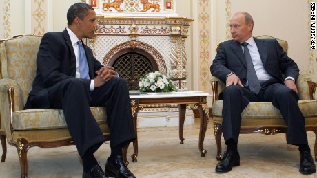 US President Barack Obama, left, with then-Russian Prime Minister Vladimir Putin in Novo-Ogarevo on July 7, 2009 -- the first time the two leaders met.