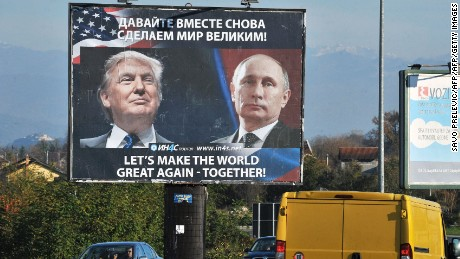 A billboard of Trump and Putin placed by pro-Serbian movement in the Montenegrin town of Danilovgrad on November 16, 2016.