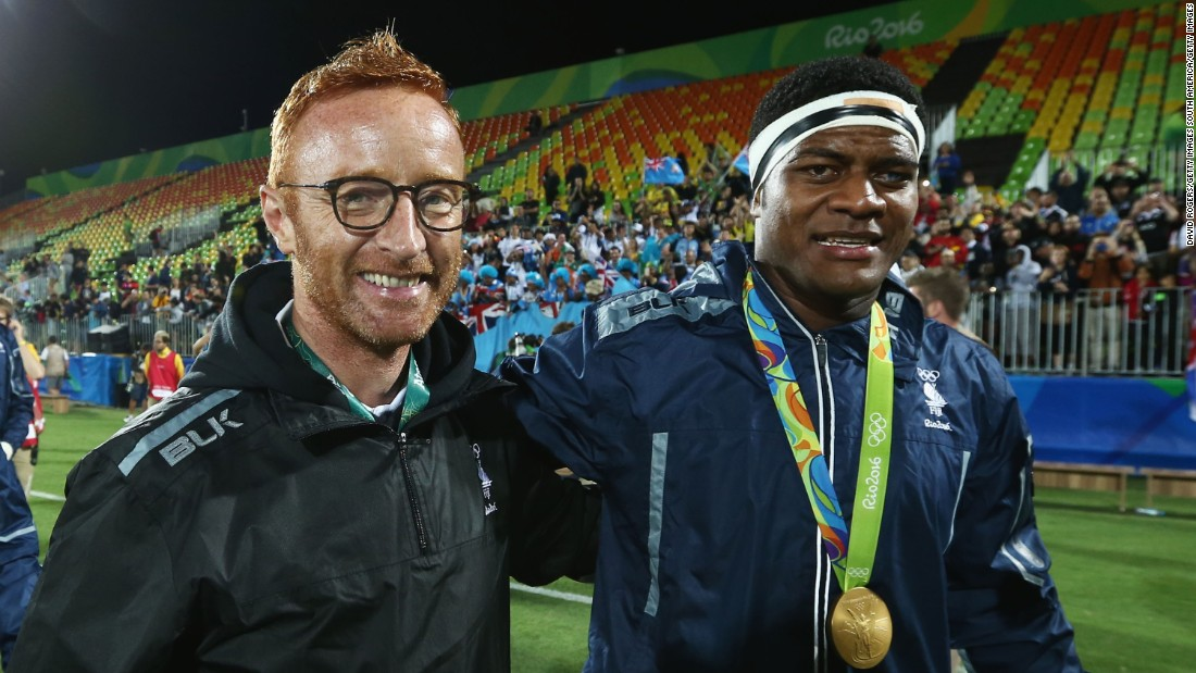 However, Ryan -- pictured with Ro Dakuwaqa in Rio -- remains closely linked with the Fiji players and is working to ensure they get a fair pay deal for playing on the global stage.