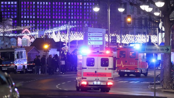 Ambulances are seen where the incident happened in western Berlin.