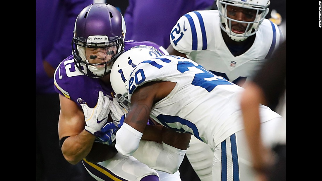 Minnesota wide receiver Adam Thielen, left, is unable to catch a pass as he's hit by Indianapolis cornerback Darius Butler on Sunday, December 18. Butler got a penalty for unnecessary roughness.
