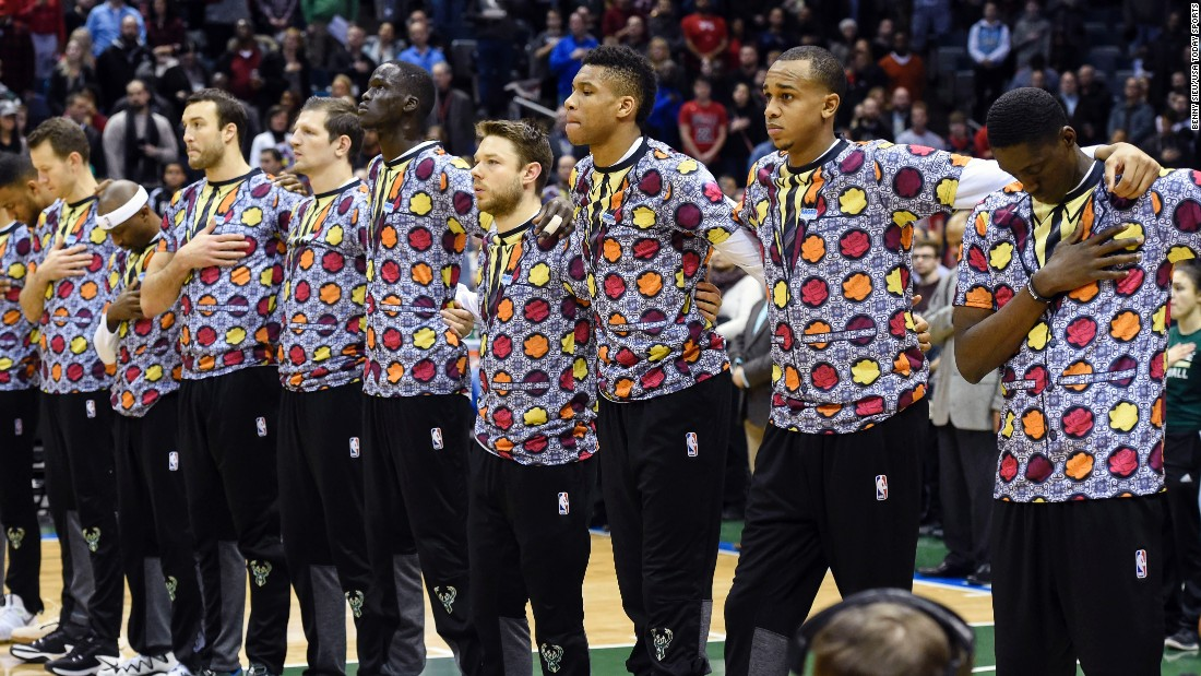 "The Milwaukee Bucks wear loud shirts in honor of broadcaster <a href=""http://www.cnn.com/2016/12/15/us/craig-sager-dies/index.html"" target=""_blank"">Craig Sager,</a> who died Thursday, December 15, after battling acute myeloid leukemia. Sager, a Turner Sports sideline reporter best known for his colorful wardrobe, was 65."