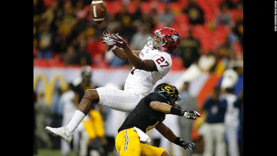 North Carolina Central defensive back Jaquell Taylor, left, breaks up a pass intended for Grambling's Devohn Lindsey during the Celebration Bowl in Atlanta on Saturday, December 17.