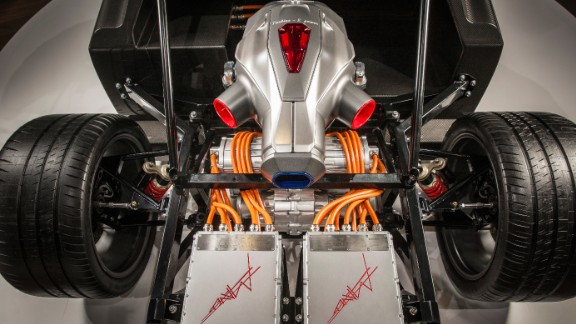 "The sleek chassis is complemented by a patent-protected ""TREV system"" -- a hybrid powertrain technology with a built-in turbine generator -- which will create electricity in addition to the power stored in the batteries, the company says."