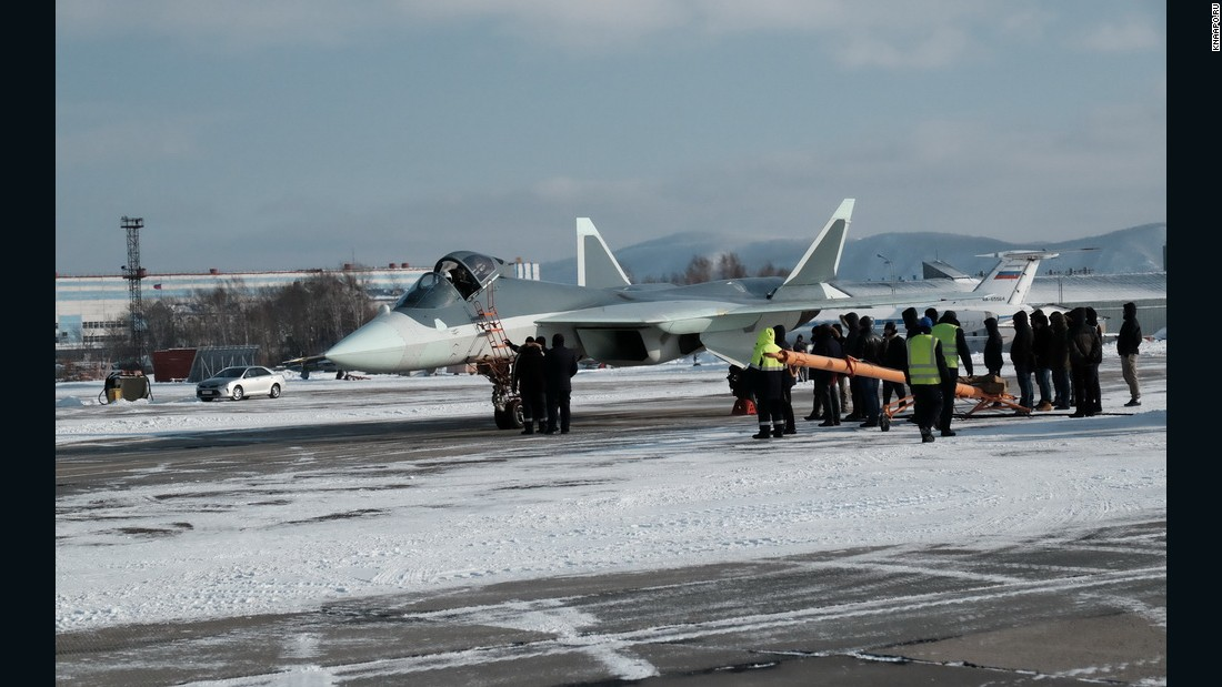 The Russian T-50 fighter is seen as a rival to US F-22s and F-35s.