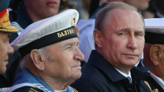 Russian President Vladimir Putin attends a n even during Navy Day on July 26, 2015, in the militarized garrison town of Bailtiysk, Russia.