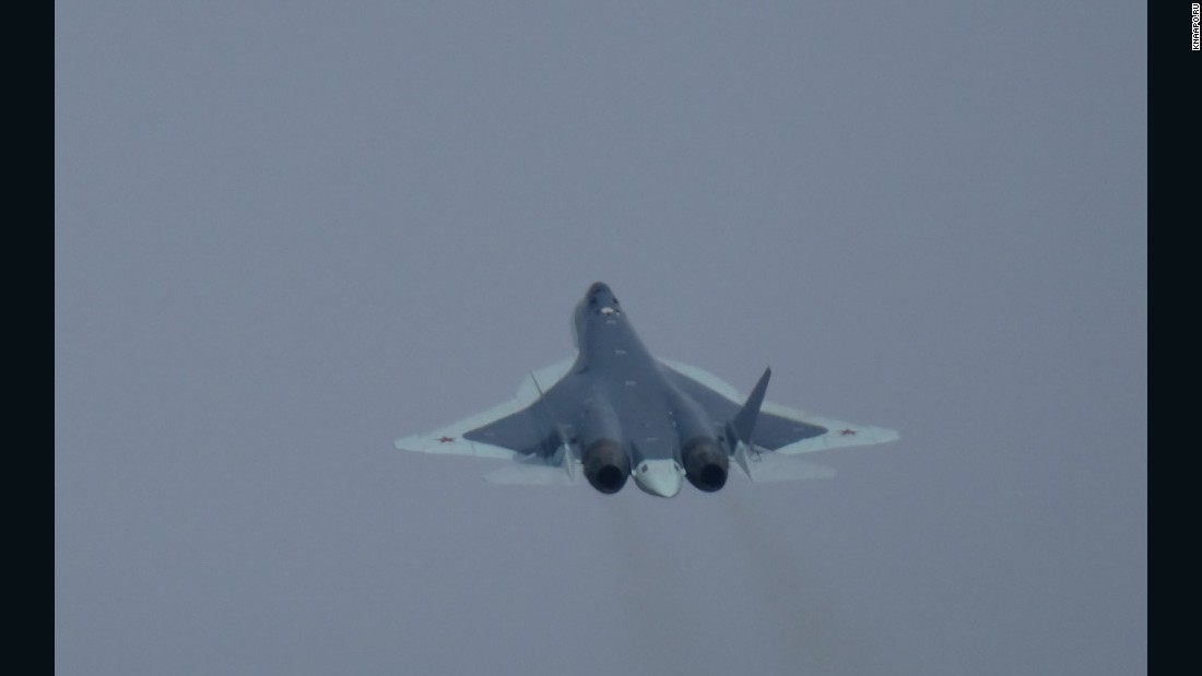 Russia T-50 fighter flies in an image from the manufacturer's website.