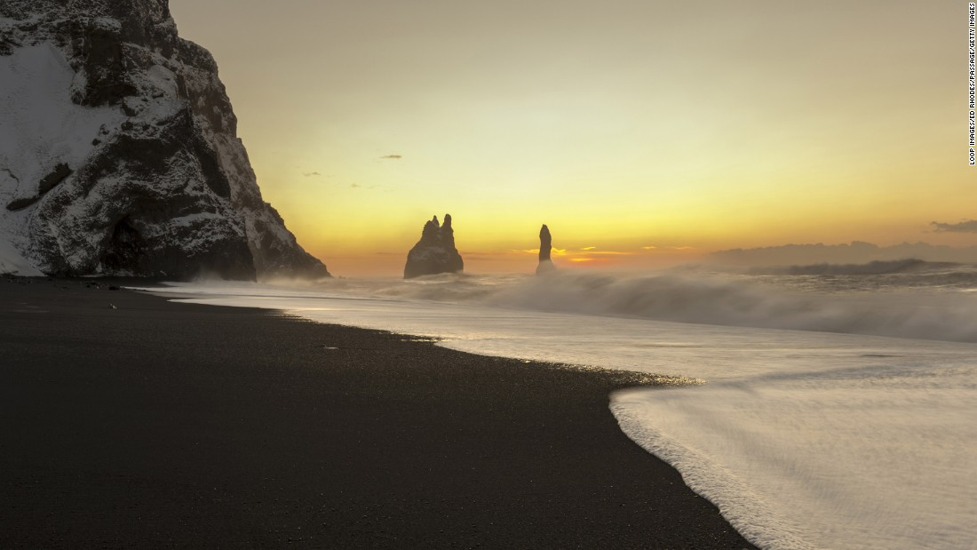 "<strong>Eadu (Reynisfjara, Iceland): </strong>The black sand beach of Reynisfjara, a wild stretch of North Atlantic coastline close to the small town of Vik and Iceland's southernmost tip, appears in ""Rogue One"" as the stormy planet of Eadu."