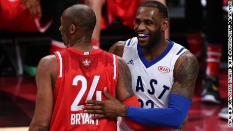 LeBron James (right) with Kobe Bryant during the 2016 NBA All-Star Game in Toronto.