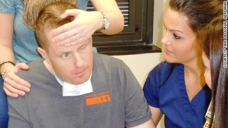 Nick Tullier recovers from being shot in the head