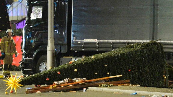 View of the truck that crashed into a Christmas market at Gedächtniskirche church in Berlin.
