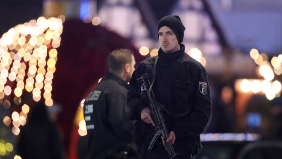 Security officers guard the area after the Berlin Christmas market attack.