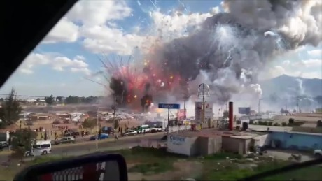 At least 50 people are injured after an explosion at a large fireworks market near Mexico City on Tuesday.