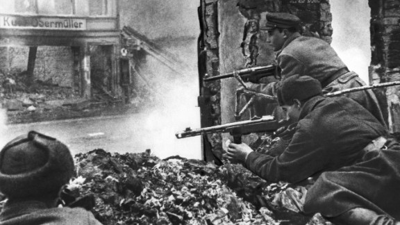 Russian soldiers fight to take control of Kaliningrad from German troops during World War II.