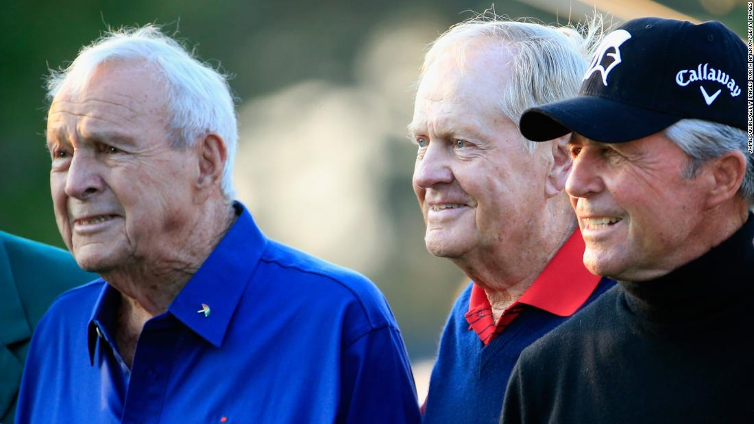 "Nicklaus' early career was characterized by his rivalry with Arnold Palmer (left) and Gary Player (right). Known as the ""Big Three"", the trio became honorary starters at the Masters."