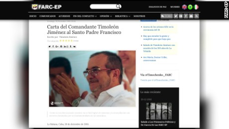 screen shot of FARC-EP website that shows Timochenko letter to Pope Francis