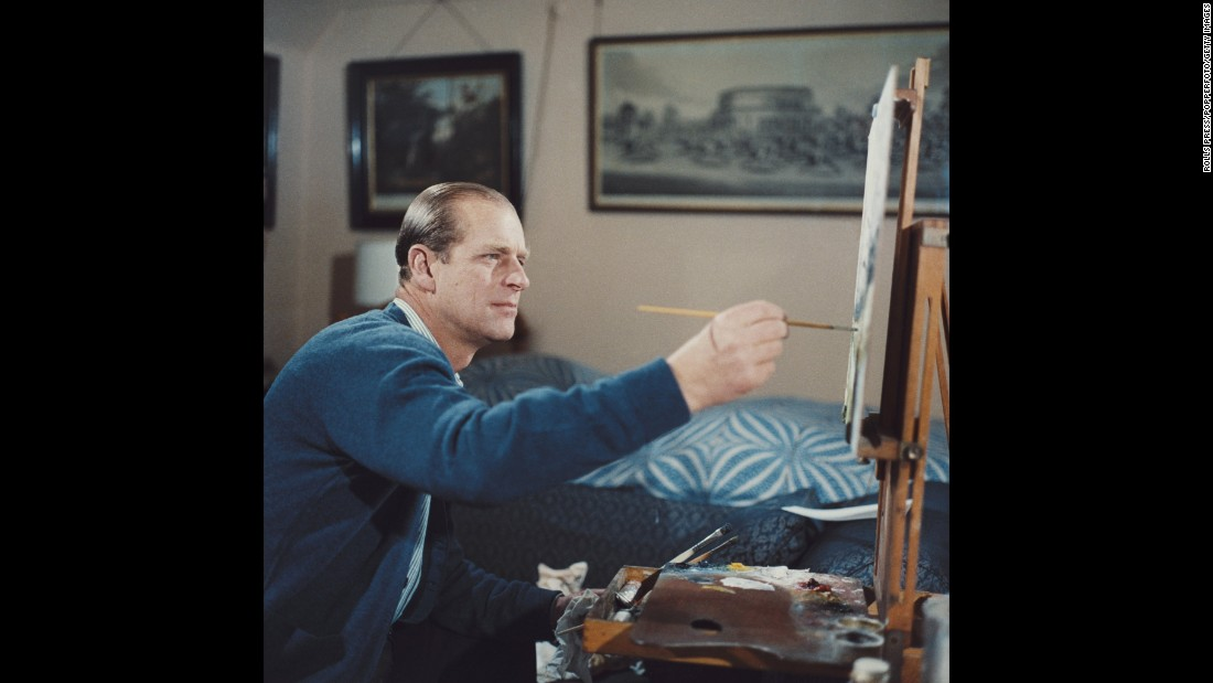 "Prince Philip paints during the filming of the documentary ""Royal Family"" in 1969."