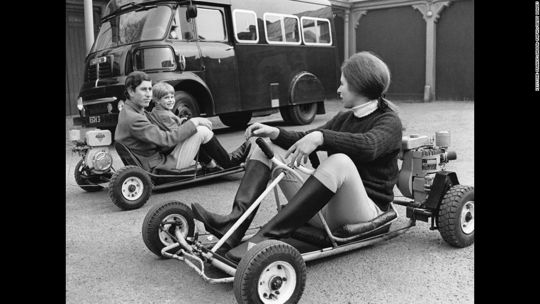 Prince Charles, left, rides go-carts with his brother Prince Edward and his sister, Princess Anne, circa 1969.