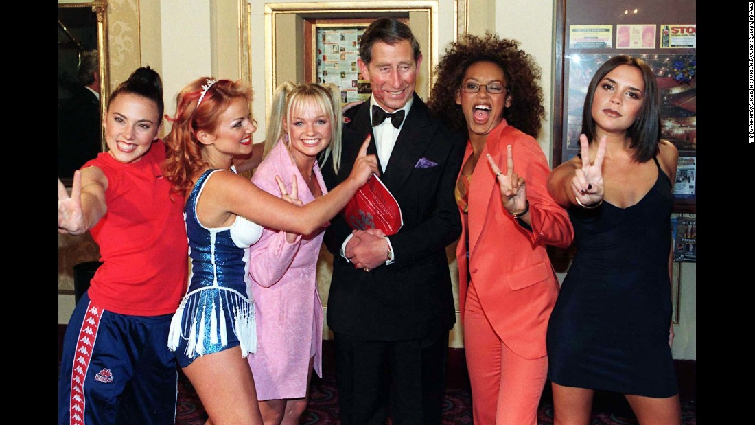 Prince Charles poses with the Spice Girls in 1997.