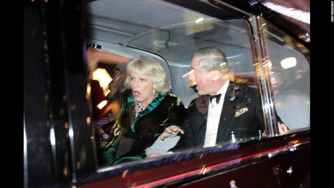 Charles and Camilla were on their way to a performance at the London Palladium when their car was attacked by angry student protesters in December 2010. The students were protesting a hike in tuition fees.