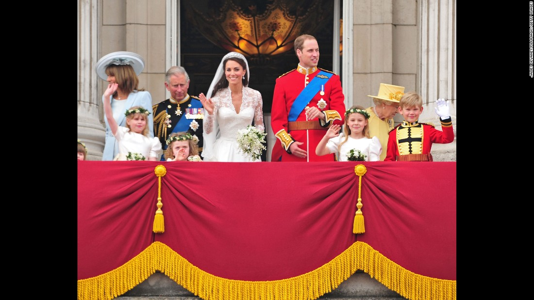 Prince Charles and Queen Elizabeth II were among those on the Buckingham Palace balcony after Prince William wed Kate Middleton in April 2011.