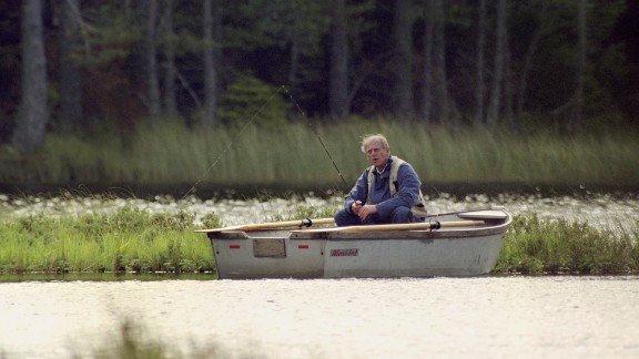 Prince Phillip fishes in a Scottish loch in 1993.
