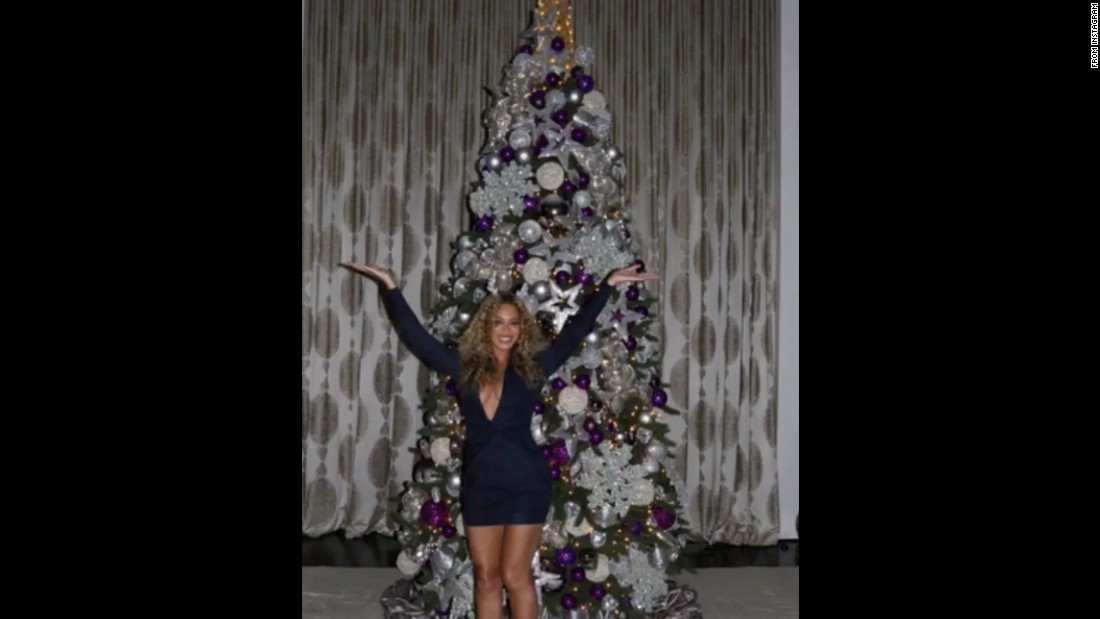Queen Bey posted a series of pictures of her festive home on Instagram. She even has a pink tree for daughter Blue Ivy.