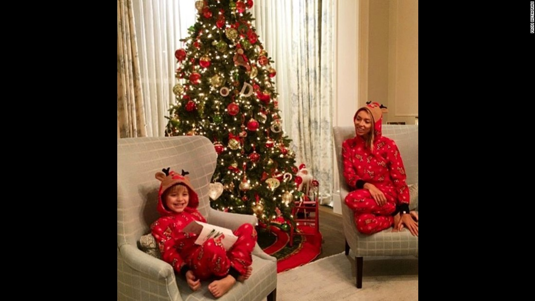 Giuliana Rancic and her son are clearly excited for the holidays. The TV host showed off her tree -- along with their festive red pajamas.