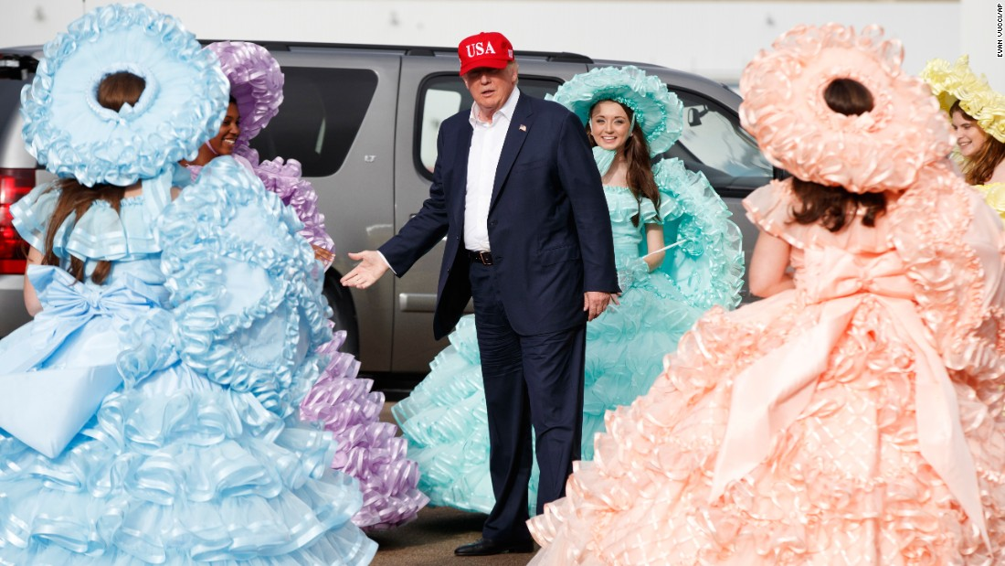 "US President-elect Donald Trump is greeted by the Azalea Trail Maids after arriving for his ""thank you"" rally in Mobile, Alabama, on Saturday, December 17. Mobile <a href=""http://www.cnn.com/interactive/2016/politics/unprecedented/trump-rally-draws-30000-in-alabama/"" target=""_blank"">marked a turning point for Trump's campaign</a> in August 2015. Prior to that night, it wasn't clear how much support Trump's campaign would garner. But one glance at the crowd of some 30,000 supporters solidified that there was something significant happening. ""This is where it all began,"" <a href=""http://www.cnn.com/2016/12/19/politics/cnnphotos-trump-rally-alabama/index.html"" target=""_blank"">the President-elect told the crowd</a> on Saturday."