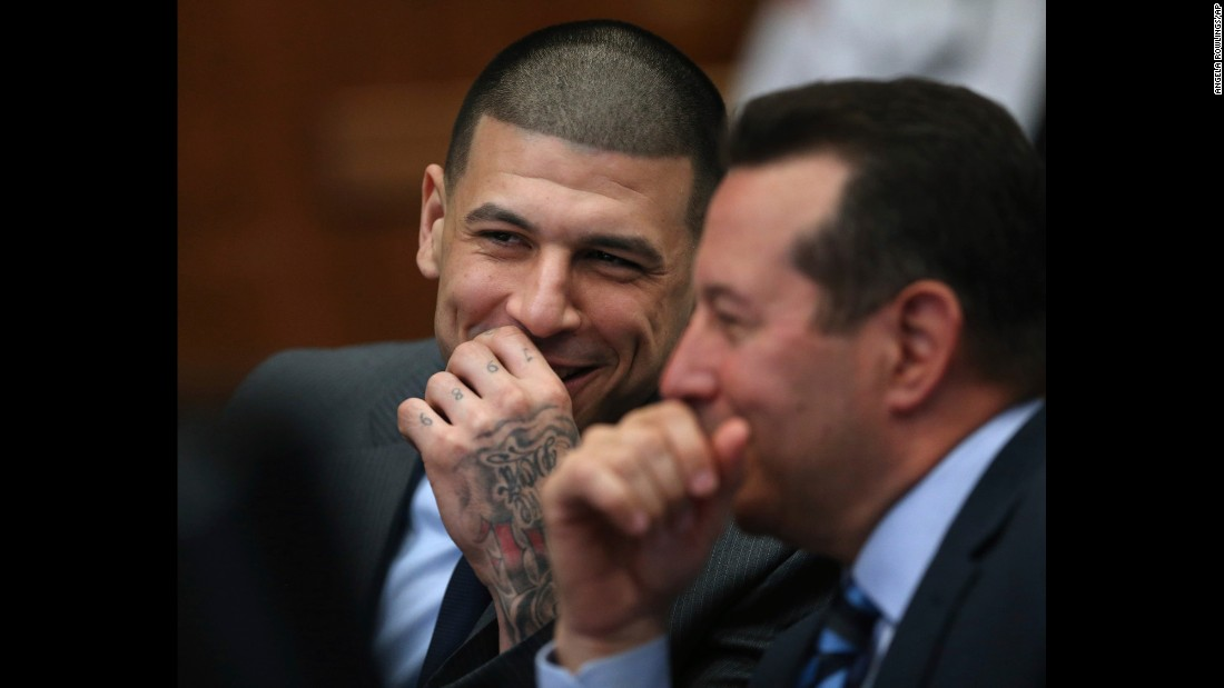 "Former football star Aaron Hernandez laughs with defense attorney Jose Baez during a hearing in Boston on Tuesday, December 20. Hernandez <a href=""http://www.cnn.com/2016/12/20/us/aaron-hernandez-witness-testimony/"" target=""_blank"">has pleaded not guilty</a> to two counts of first-degree murder in the 2012 deaths of Daniel de Abreu and Safiro Furtado. He is already serving a life sentence after being convicted of the 2013 killing of Odin Lloyd."