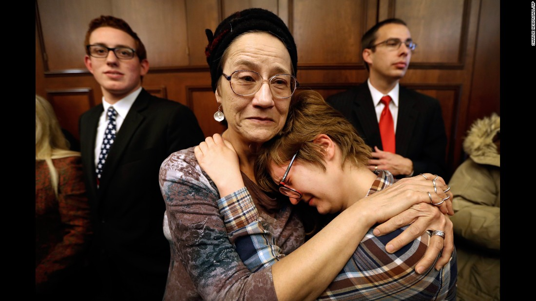 "Mary Barrett and her daughter Rebecca react as Iowa's six electors cast their Electoral College votes for Donald Trump at the Statehouse in Des Moines on Monday, December 19. In all, <a href=""http://www.cnn.com/2016/12/19/politics/electoral-college-donald-trump-vote/"" target=""_blank"">Trump received 304 electoral votes</a> to Hillary Clinton's 227. Several ""faithless electors"" voted for other candidates."