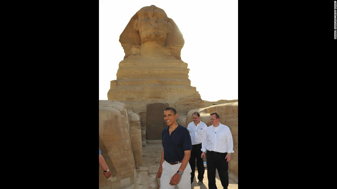 Obama, Axelrod and Gibs tour the Great Pyramids of Giza during a trip to Egypt in 2009.