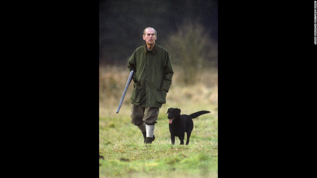 Prince Phillip hunts at the Sandringham estate in 1994.