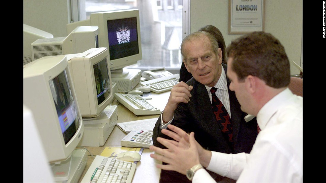 Prince Phillip tours the London Stock Exchange in 1998.