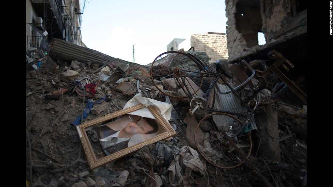 Rubble is seen in the Salaheddine neighborhood on March 24, 2013, in Aleppo.