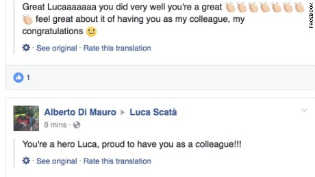 Friends of Luca Scata praised him on Facebook.